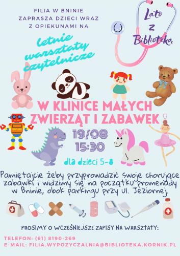 Lato z Biblioteką (Filia w Bninie) – W Klinice Małych Zwierząt i Zabawek – plenerowe warsztaty czytelnicze dla dzieci 5-8 lat