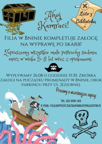 Lato z Biblioteką (Filia w Bninie) – Pirackie Warsztaty Czytelnicze w plenerze
