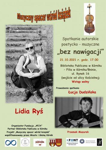 Poetycko-muzyczne spotkanie autorskie z Lidią Ryś (Filia w Bninie) – wstęp wolny