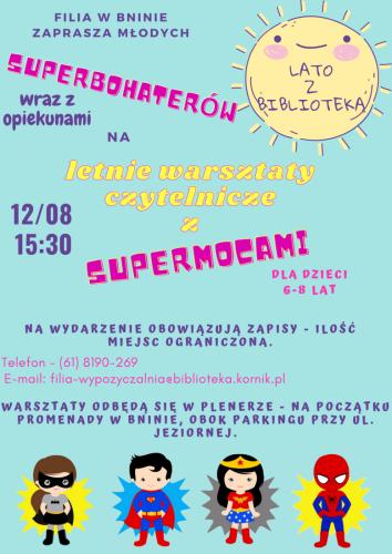 Lato z Biblioteką (Filia w Bninie) – plenerowe warsztaty czytelnicze dla superbohaterów (6-8 lat)